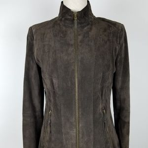 Alfani Soft Suede Brown Fitted Jacket with Zip.